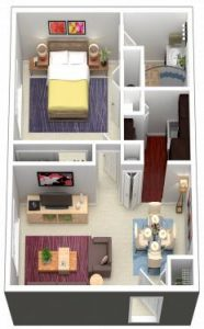 1 Bed / 1 Bath / 610 sq ft / Rent From: $650-700